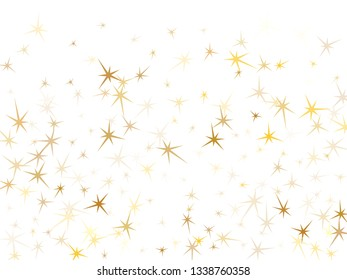 Gold stars flying on white. Geometric metallic starburst vector background. Shiny star sparkles birthday print. Space objects decoration graphic design.