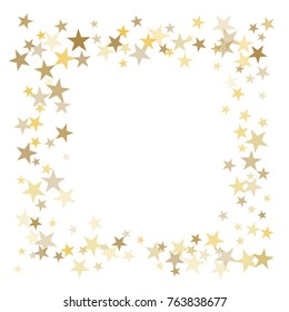 gold stars glitter confetti square frame. shining sparkles circle border pattern on white with golden sky objects, star dust. Abstract vector background design element