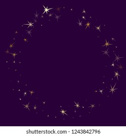 Gold stars glitter on dark violet. Geometric metallic starry vector background. Rich star dust sparkles success symbols. Fireworks flying elements decoration graphic design.