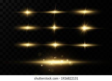 Gold stars, glow effect, glowing lights, sun.Vector.
