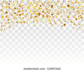 Gold stars Holiday background, Falling golden shining star on white transparent background. Vector