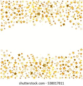 Gold stars Holiday background, Falling golden shining star on white background. Vector