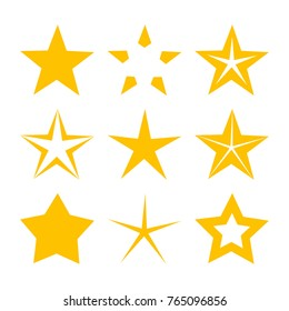 Gold stars icons. Vector illustration collection