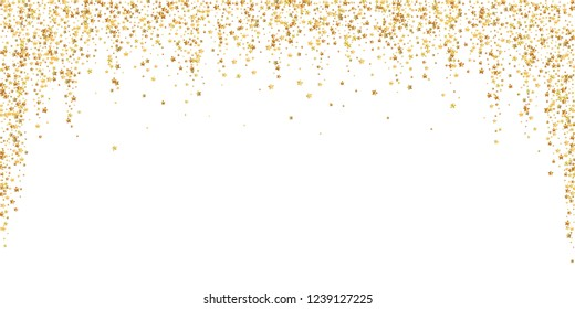 Gold stars luxury sparkling confetti. Scattered small gold particles on white background. Beauteous festive overlay template. Popular vector illustration.