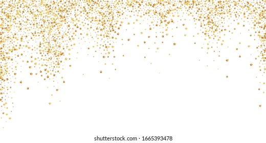 Gold stars luxury sparkling confetti. Scattered small gold particles on white background. Bizarre festive overlay template. Noteworthy vector illustration.