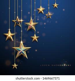 Gold stars on blue background
