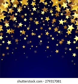 Gold Stars On The Dark Background. Confetti background. Star background. Vector Illustration