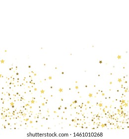 Gold stars on a white background. Confetti celebration, Falling golden abstract decoration for party, birthday celebrate, anniversary or event, festive. Christmas starburst lights poster pattern.