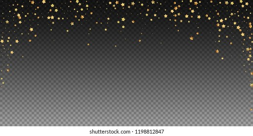 Gold stars random luxury sparkling confetti. Scattered small gold particles on transparent background. Beauteous festive overlay template. Powerful vector illustration.