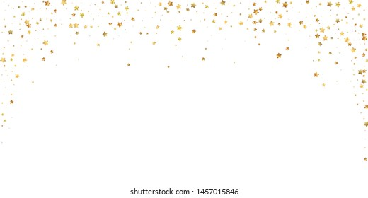 Gold stars random luxury sparkling confetti. Scattered small gold particles on white background. Beauteous festive overlay template. Precious vector illustration.