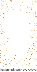 Gold stars random luxury sparkling confetti. Scattered small gold particles on white background. Ecstatic festive overlay template. Great vector background.