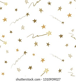 Gold stars seamless pattern. Hand drawn golden art on white background. Doodling scribble ornament background.