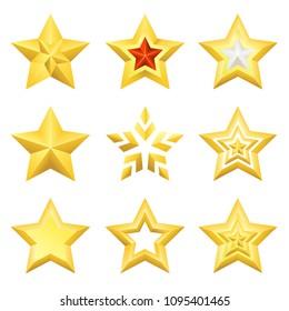 Gold stars set isolated on white background, vector illustration