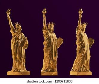 Gold Statue of Liberty Set, New York landmark, American symbol Vector 3D Rendering