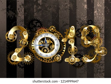 Gold steampunk numbers 2019 with an antique clock, with brass gears, on textured, brown, striped background. New Year.