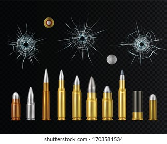 Gold steel and copper weapon ammo realistic set with bullet holes on dark transparent background vector illustration