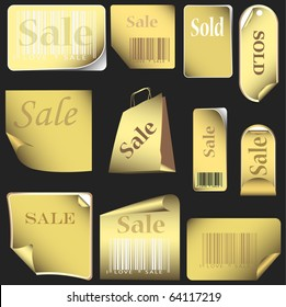 gold stickers and tags set with bar codes. set 05 isolated on black background. vector illustration