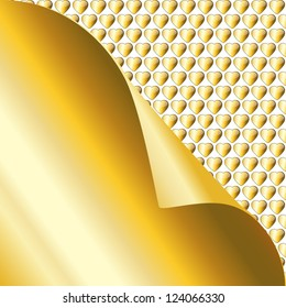 A gold sticky not being peeled back to reveal a background of glossy golden hearts. Space for your text. EPS10 vector format.