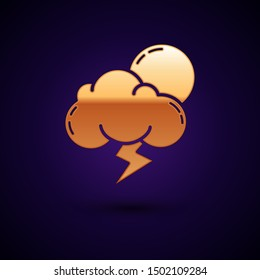 Gold Storm icon isolated on dark blue background. Cloud with lightning and sun sign. Weather icon of storm.  Vector Illustration