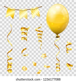 Gold Streamer and golden confetti, twisted ribbons, balloons, flags. Birthday, Carnival, Christmas, Party, New Year Decoration. Isolated vector illustration on transparent background