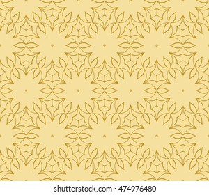 gold style floral illustration. complex geometric pattern of interwoven lines and shapes. seamless texture. for interior design, wallpaper, printing and textiles. vector