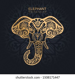 Gold Stylized Patterned Elephant on ornamental dark background
