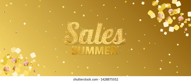 Gold summer background golden sale art vector Illustration. Brilliant jewelry inscription gold shiny mega discount