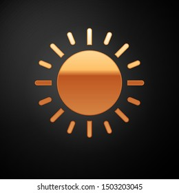 Gold Sun icon isolated on black background.  Vector Illustration