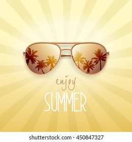 Gold sunglasses with palms reflection. Summer banner, poster, fresh, modern, advertisement