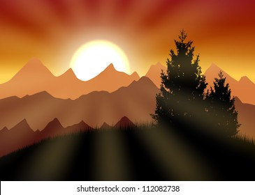 Gold sunset above mountains