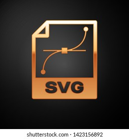 Gold SVG file document icon. Download svg button icon isolated on black background. SVG file symbol. Vector Illustration