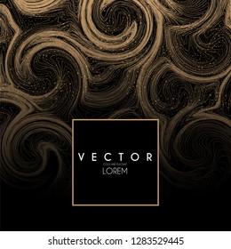 Gold Swirls Background. Elegant Vibrant Line Texture. Vector illustration