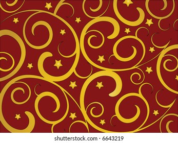 Gold swirls and stars on a red background.