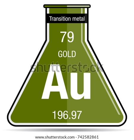 Gold Symbol On Chemical Flask Element Stock Vector Royalty Free