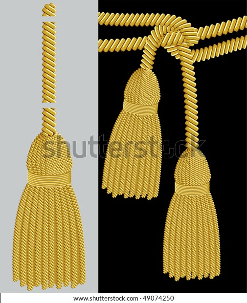 Gold Tassel Adobe Illustrator Pattern Brush Stock Vector (Royalty