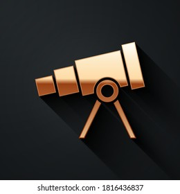 Gold Telescope icon isolated on black background. Scientific tool. Education and astronomy element, spyglass and study stars. Long shadow style. Vector