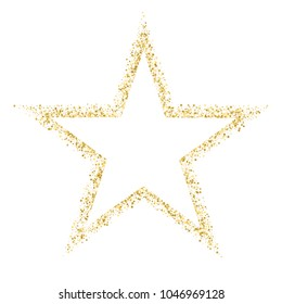 Gold template star for banner, card, vip, exclusive, certificate, gift, luxury, privilege, voucher, store, present, shopping. Golden star vector banner on white background. Gold glitter star