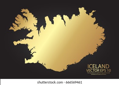 Gold texture map of Iceland - abstract metal empty golden gradient template. Vector illustration eps 10.
