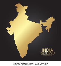 Gold texture map of India - abstract metal empty golden gradient template. Vector illustration eps 10.