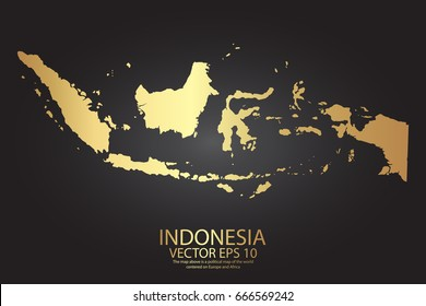 Gold texture map of Indonesia - abstract metal empty golden gradient template. Vector illustration eps 10.