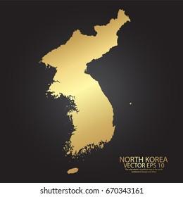 Gold texture map of North Korea - abstract metal empty golden gradient template. Vector illustration eps 10.