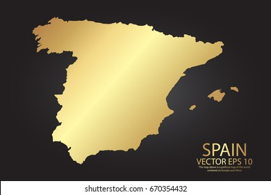 Gold texture map of Spain - abstract metal empty golden gradient template. Vector illustration eps 10.