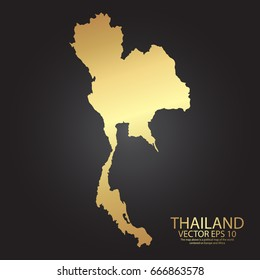 Gold texture map of Thailand - abstract metal empty golden gradient template. Vector illustration eps 10.