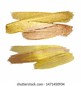 Gold Texture Paint Stain Illustration. Hand drawn brush stroke design elements. Abstract gold glittering textured art. Vector illustration.
