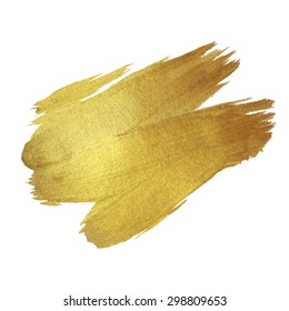 Gold Texture Paint Stain Illustration. Hand drawn brush stroke vector design element.