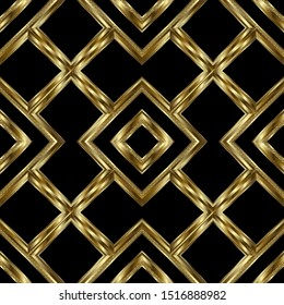 Gold textured 3d geometric vector seamless pattern. Striped ornamental luxury grid background. Repeat geometrical backdrop. Modern surface abstract ornament with stripes, frames, rhombus, shapes.