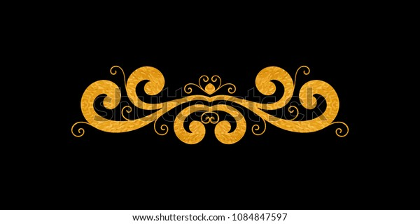 Gold textured decorative border in retro style. Vintage calligraphic vignette or divider for greeting card, wedding invitation, menu, postcard. Swirls ornament and page decoration. Vector illustration