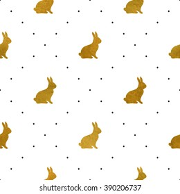 Gold textured rabbits. Seamless pattern for web, wallpaper, decals, spring/summer fashion fabric, textile, background for Easter greeting card or holiday decor.