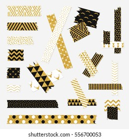 Gold textured scotch, patterned adhesive tape collection, different size pieces isolated on white background. Vector set