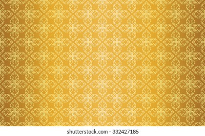 Gold Thai Style Vintage Line Art Seamless Pattern Background